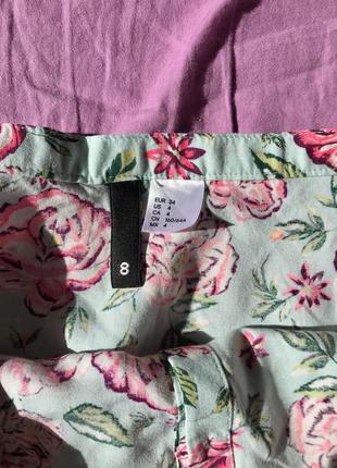 Юбка солнце клеш короткая на пуговицах цветочный принт пышная с высокой талией мятная голубая розовая4 фото