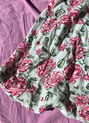 Юбка солнце клеш короткая на пуговицах цветочный принт пышная с высокой талией мятная голубая розовая3 фото