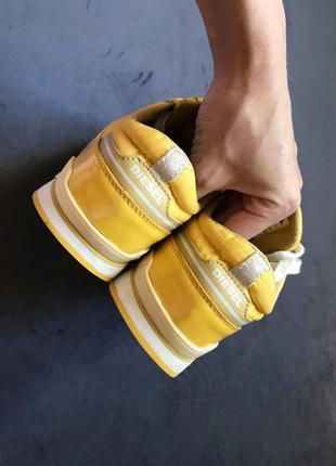 Яркие жёлтые кроссовки diesel оригинал натуральный замш лак р.376 фото