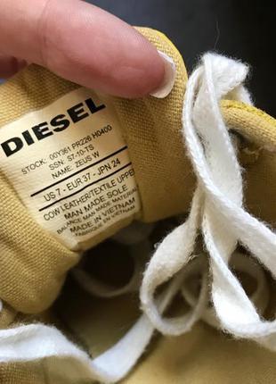 Яркие жёлтые кроссовки diesel оригинал натуральный замш лак р.372 фото