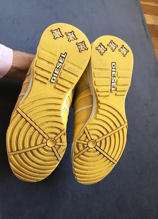 Яркие жёлтые кроссовки diesel оригинал натуральный замш лак р.375 фото