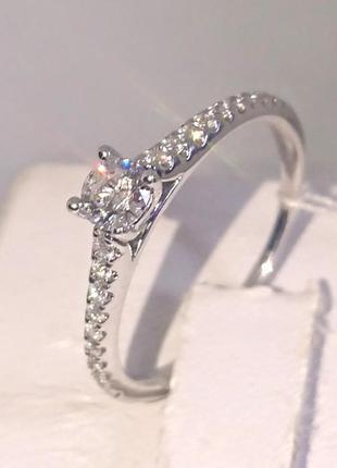 Кольцо каблучка помолвка бриллиант діамант 0,22ct+ золото 585 16-16,3р3 фото