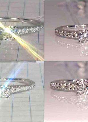 Кольцо каблучка помолвка бриллиант діамант 0,22ct+ золото 585 16-16,3р4 фото