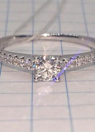 Кольцо каблучка помолвка бриллиант діамант 0,22ct+ золото 585 16-16,3р7 фото