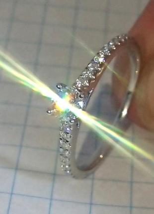Кольцо каблучка помолвка бриллиант діамант 0,22ct+ золото 585 16-16,3р1 фото