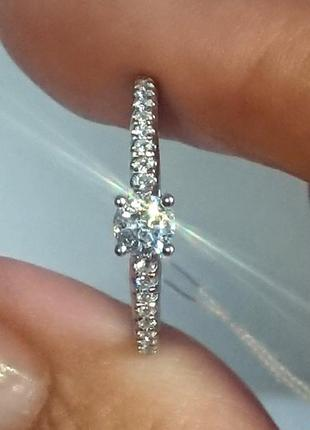 Кольцо каблучка помолвка бриллиант діамант 0,22ct+ золото 585 16-16,3р6 фото
