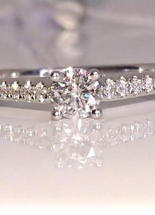 Кольцо каблучка помолвка бриллиант діамант 0,22ct+ золото 585 16-16,3р5 фото