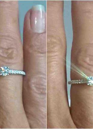 Кольцо каблучка помолвка бриллиант діамант 0,22ct+ золото 585 16-16,3р8 фото