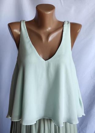 Топ блузка шифоновая без рукавов мятный цвет, свободный крой.