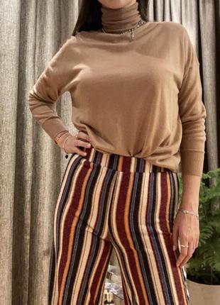 Полосатые штаны брюки-клёш на резинке в парижском стиле от бренда forever 212 фото