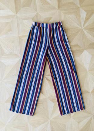 Полосатые штаны брюки-клёш на резинке в парижском стиле от бренда forever 211 фото
