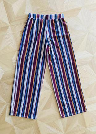 Полосатые штаны брюки-клёш на резинке в парижском стиле от бренда forever 216 фото