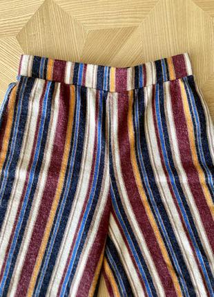 Полосатые штаны брюки-клёш на резинке в парижском стиле от бренда forever 213 фото