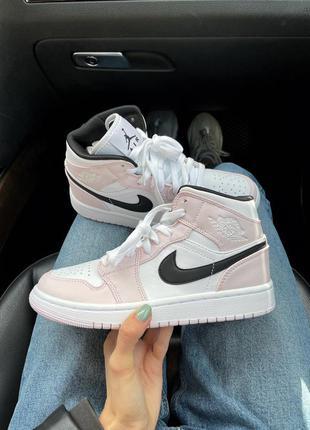 Женские кроссовки air jordan white/light pink