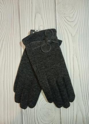Теплые женские трикотажные перчатки рукавицы2 фото
