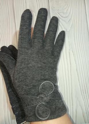 Теплые женские трикотажные перчатки рукавицы1 фото