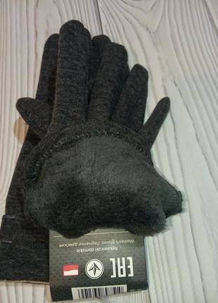 Теплые женские трикотажные перчатки рукавицы3 фото