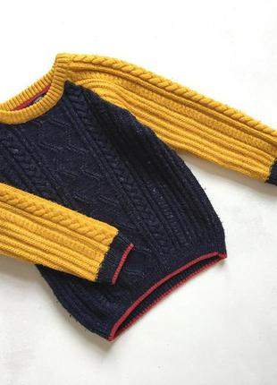 Тёплый вязаный качественный свитерок горчичный и синий george  2-3 года