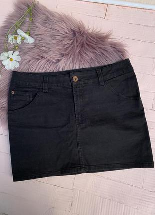 Черная джинсовая мини юбка короткая базовая джинс h&m шм hm