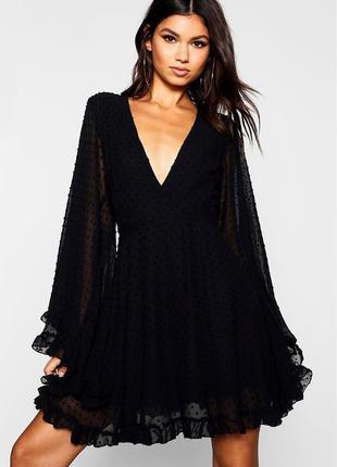 Платье с расклешенными рукавами, пышное платье черное, вечернее платье, сукня