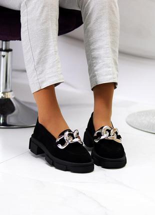 Эффектные замшевые черные женские туфли натуральная замша на массивной подошве 115438 фото