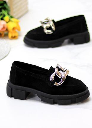 Эффектные замшевые черные женские туфли натуральная замша на массивной подошве 115433 фото