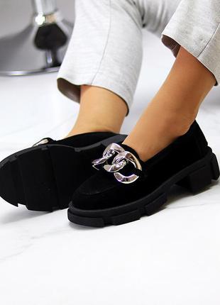 Эффектные замшевые черные женские туфли натуральная замша на массивной подошве 115435 фото