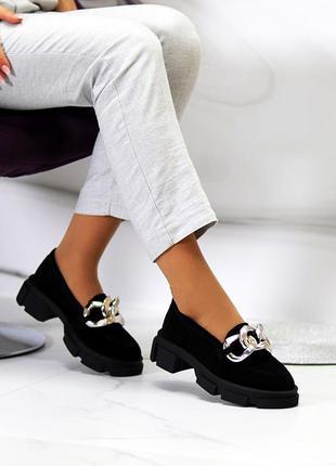 Эффектные замшевые черные женские туфли натуральная замша на массивной подошве 115439 фото
