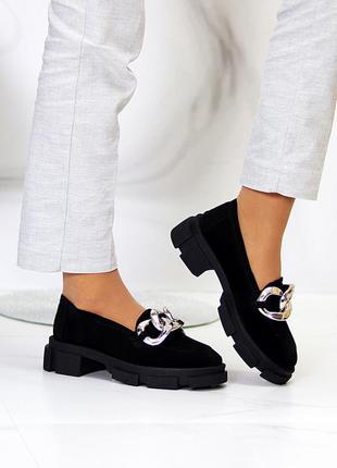 Эффектные замшевые черные женские туфли натуральная замша на массивной подошве 115437 фото