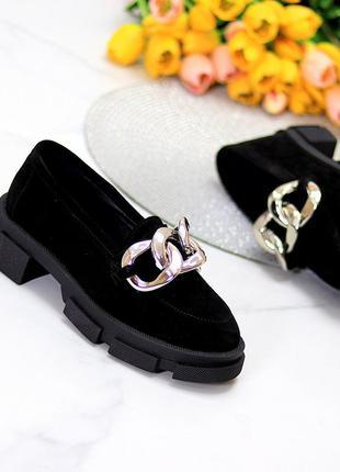 Эффектные замшевые черные женские туфли натуральная замша на массивной подошве 115432 фото