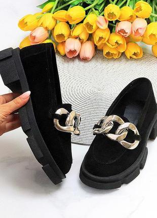 Эффектные замшевые черные женские туфли натуральная замша на массивной подошве 115434 фото