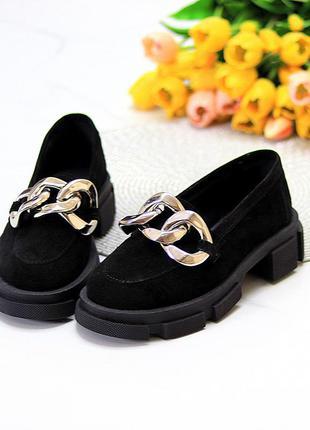 Эффектные замшевые черные женские туфли натуральная замша на массивной подошве 115431 фото