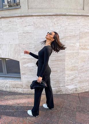 Базовый женский костюм свитер брюки классические4 фото
