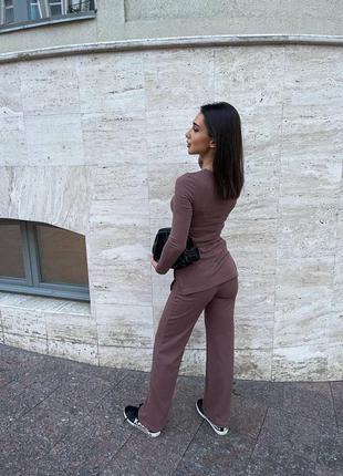 Базовый женский костюм свитер брюки классические7 фото