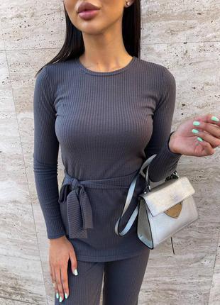Базовый женский костюм свитер брюки классические10 фото