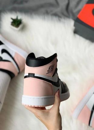 Кроссовки женские nike air jordan 1 retro high pink найк аир джордан розовый2 фото