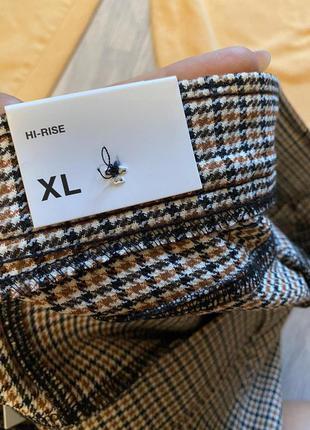 Стильные лосины,леггинсы,брюки с высокой посадкой,талией в гусиную ламку xl  от zara4 фото