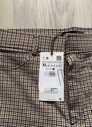 Стильные лосины,леггинсы,брюки с высокой посадкой,талией в гусиную ламку xl  от zara6 фото