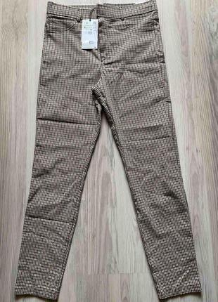 Стильные лосины,леггинсы,брюки с высокой посадкой,талией в гусиную ламку xl  от zara3 фото