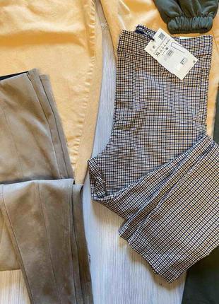 Стильные лосины,леггинсы,брюки с высокой посадкой,талией в гусиную ламку xl  от zara2 фото