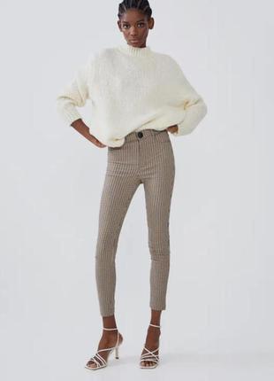 Стильные лосины,леггинсы,брюки с высокой посадкой,талией в гусиную ламку xl  от zara1 фото