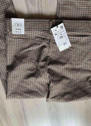 Стильные лосины,леггинсы,брюки с высокой посадкой,талией в гусиную ламку xl  от zara8 фото