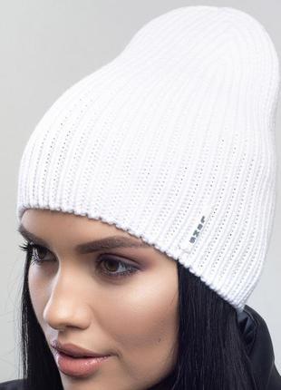 Зимняя женская вязаная модельная шапка селфи цвет белый