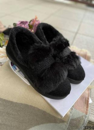 Женские тапочки на меху. женские тапочки зимние1 фото