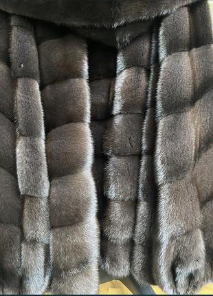 12.09 киев примерки! норковая шуба с капюшоном деграде, 75см, 48-505 фото