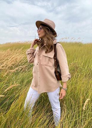 Кашемировая рубаха .рубаха тёплая на осень .рубашка из кашемира . куртка-рубаха .рубаха тёпленькая бежевого цвета  тренд 20212 фото