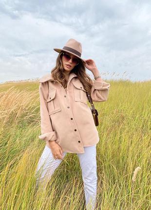 Кашемировая рубаха .рубаха тёплая на осень .рубашка из кашемира . куртка-рубаха .рубаха тёпленькая бежевого цвета  тренд 20211 фото