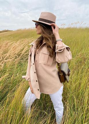 Кашемировая рубаха .рубаха тёплая на осень .рубашка из кашемира . куртка-рубаха .рубаха тёпленькая бежевого цвета  тренд 20217 фото