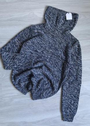 Синий меланжевый свитер с высокой горловиной