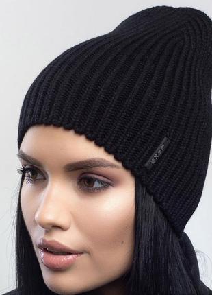 Зимняя женская вязаная модельная шапка селфи цвет черный